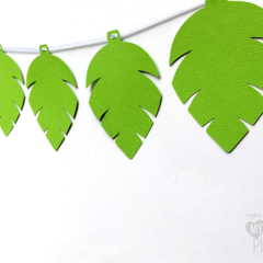 Green Jungle Leaf Party Banner. Birthday Party, Baby shower. First birthday.